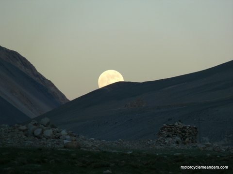 Full moon over our camp site at Pangong Lake