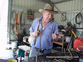 Ken making a stock whip